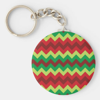 Red green shades chevron pattern key chains