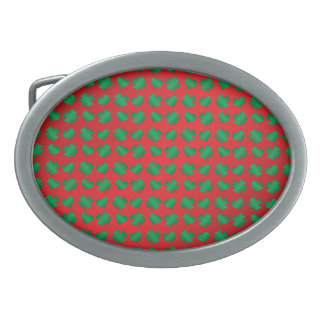 Red green shamrocks and hearts belt buckle