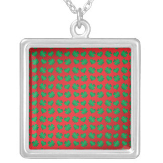 Red green shamrocks and hearts square pendant necklace
