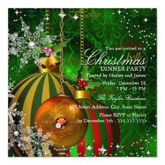 Red green Snowflake Christmas Dinner Party Card