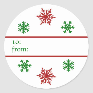 Red Green Snowflake Christmas Gift Tag Classic Round Sticker
