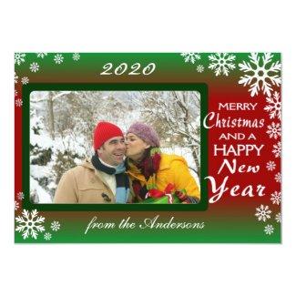 Red green snowflake custom photo holiday cards invitations