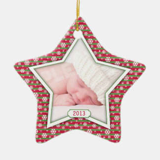 Red Green Snowflake Star Baby's First Christmas Ceramic Ornament