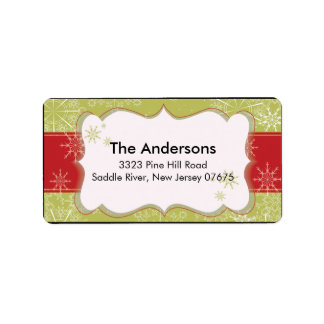 Red Green Snowflake Winter Holiday Return Address Personalized Address Label