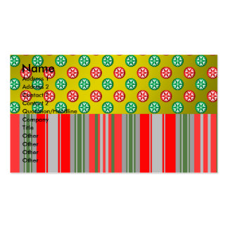 Red green snowflakes in circles on gold stripes business card