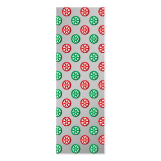 Red green snowflakes in circles on silver fade business card template