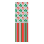Red green snowflakes in circles on silver stripes business card