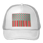 Red green snowflakes in circles on silver stripes mesh hats