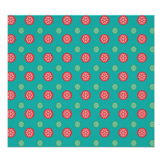 Red green snowflakes in circles on turquoise poster