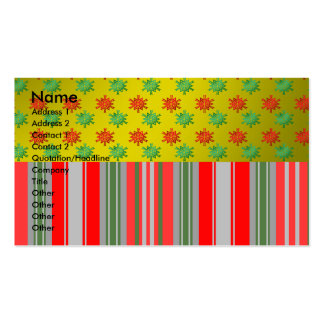 Red green snowflakes on gold fade and stripes business cards