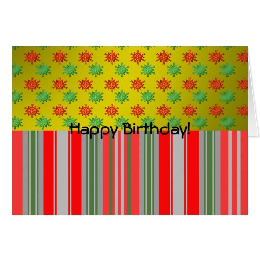 Red green snowflakes on gold fade and stripes card