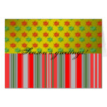 Red green snowflakes on gold fade and stripes greeting card