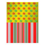 Red green snowflakes on gold fade and stripes full color flyer