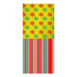 Red green snowflakes on gold fade and stripes custom rack card