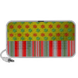 Red green snowflakes on gold fade and stripes notebook speaker