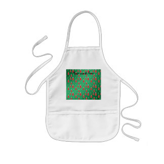 Red green snowmen on green fade aprons
