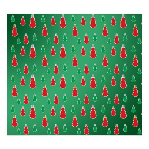 Red green snowmen on green fade poster
