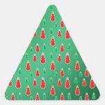 Red green snowmen on green fade triangle sticker
