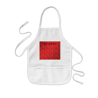 Red green snowmen on red fade aprons