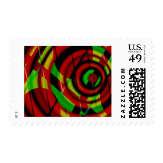 Red Green Spiral Abstract Postage