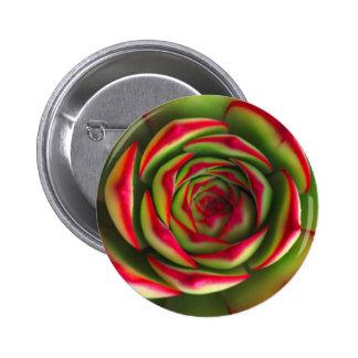Red green spiral flower pinback buttons