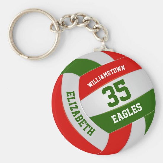 red green sports team colors volleyball keychain
