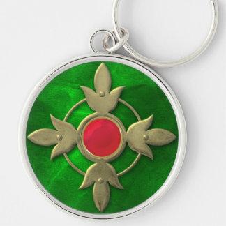 Red Green Steampunk Gem Silver-Colored Round Keychain