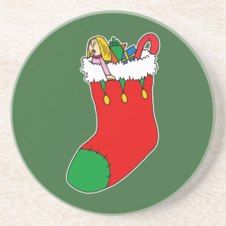 red & green stocking drink coaster