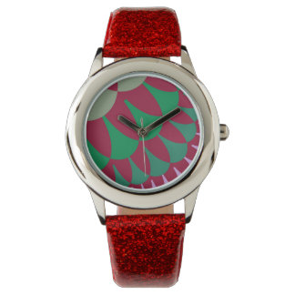Red/Green Strawberry Scale Pattern Glittery Watch