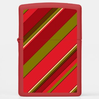 Red Green Stripe Abstract Pattern Zippo Lighter