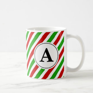 Red Green Stripe Christmas Monogram Coffee Mug