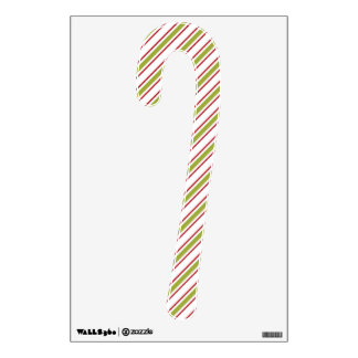 RED GREEN STRIPED CANDY CANE WALL DECAL