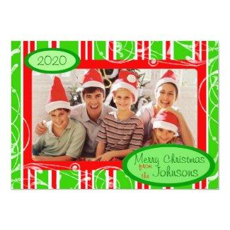 Red green striped custom holiday photo cards custom invite