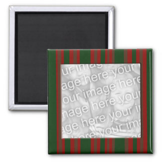 red green striped photo frame 2 inch square magnet