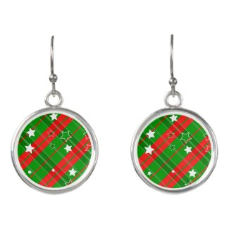 Red Green Striped Plaid White Stars