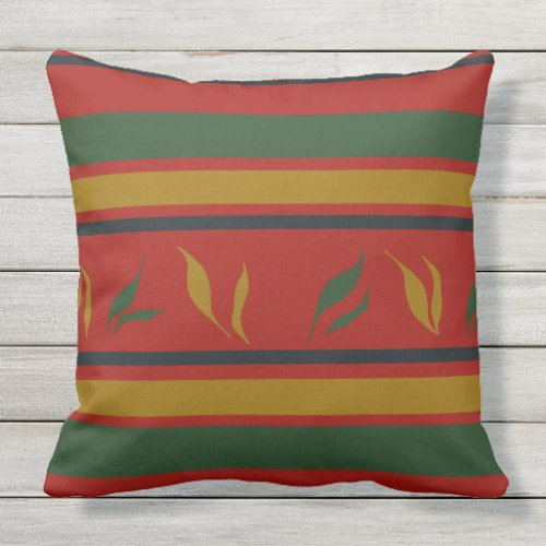 Red & Green Striped Retro Colors, Vintage Throw Pillow