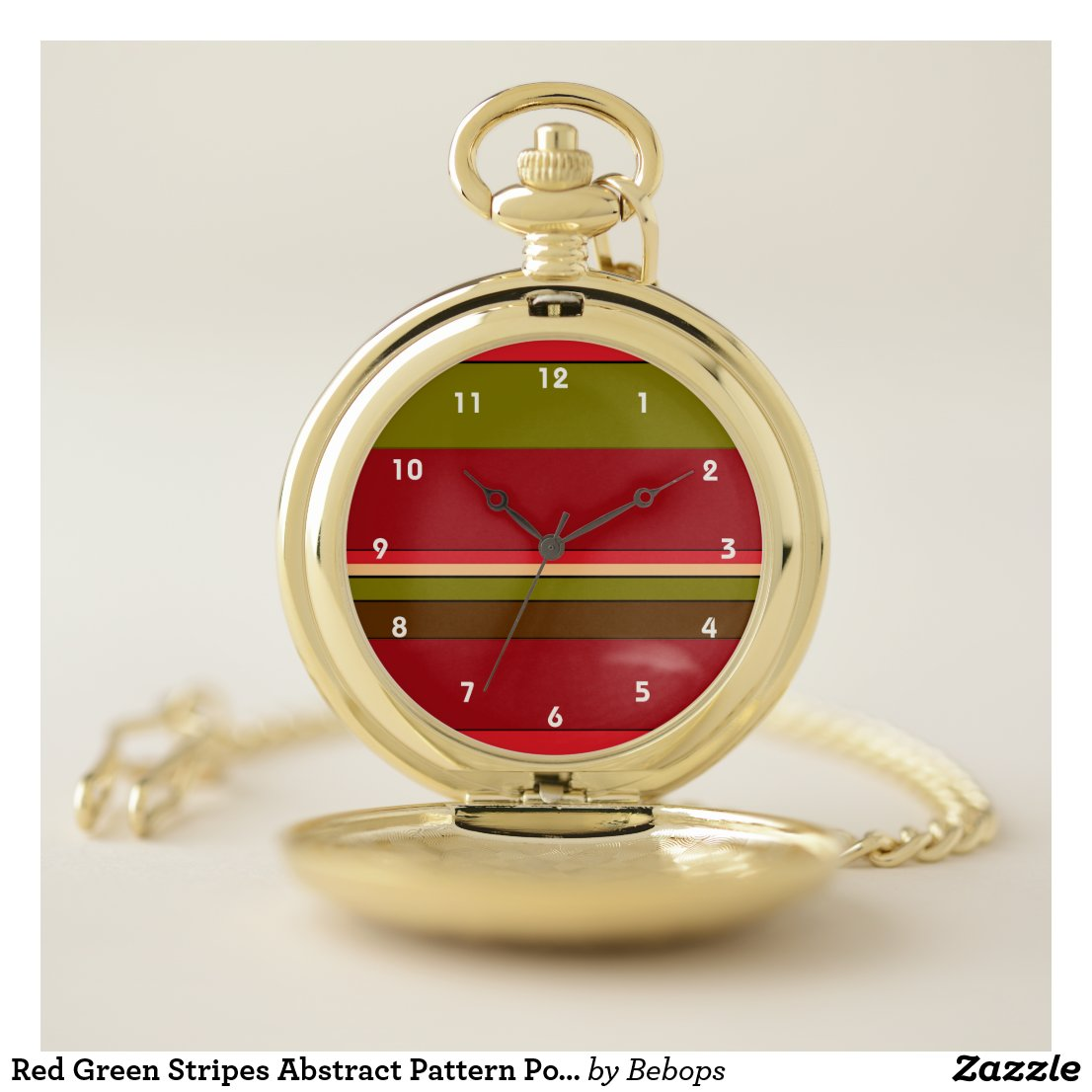 Red Green Stripes Abstract Pattern Pocket Watch