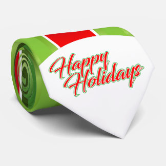 Red Green Stripes / Happy Holidays Neck Tie