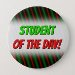 [ Thumbnail: Red & Green Stripes/Lines Pattern Button ]