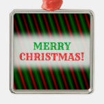 [ Thumbnail: Red & Green Stripes/Lines Pattern Square Ornament ]