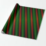[ Thumbnail: Red & Green Stripes/Lines Pattern Wrapping Paper ]