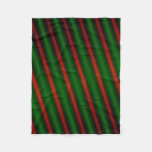 [ Thumbnail: Red & Green Stripes Or Lines Fleece Blanket ]