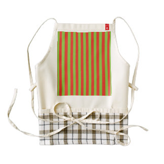 Red Green Stripes Pattern Zazzle HEART Apron