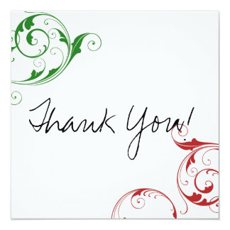 Red & Green Swirl Flat Thank You Cards
