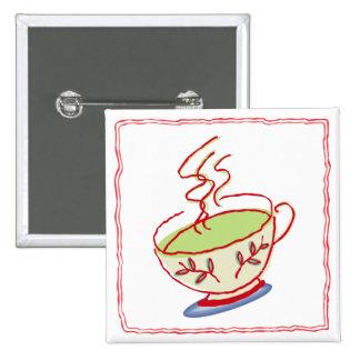 Red Green Tea Square Button