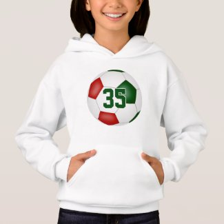 red green team colors jersey number soccer hoodie