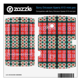 red green tile pattern xperia x10 skins