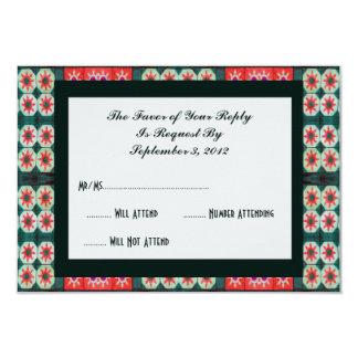 Red Green Tile RSVP Card
