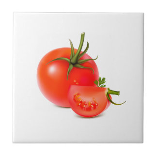 Red Green Tomato Food Art Ceramic Tile