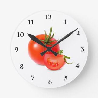 Red Green Tomato Food Art Round Clock